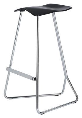 Mobilier - Tabourets de bar - Tabouret de bar Triton / H 74 cm - Assise plastique - ClassiCon - Noir / Pied chromé - Acier chromé, Polyuréthane