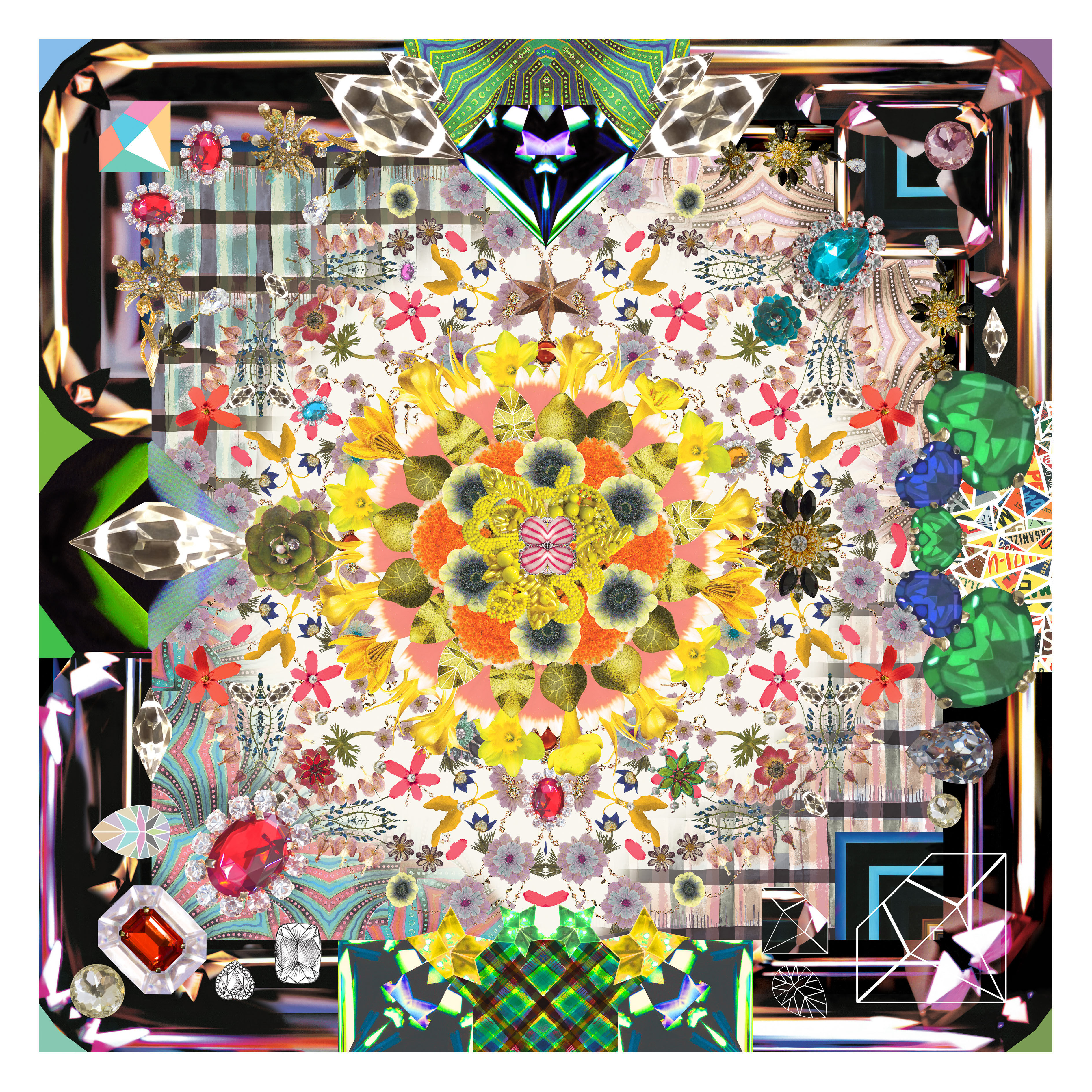 Déco - Tapis - Tapis Jewels Garden / 300 x 300 cm - Moooi Carpets - Multicolore - Polyamide