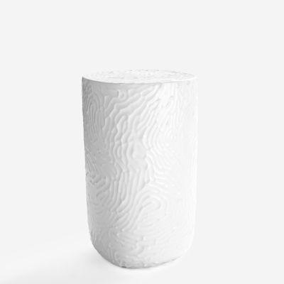 Arredamento - Tavolini  - Tavolino d'appoggio Touch Small - / Ø 25 x H 42 cm - Ceramica di Moustache - Bianco laccato - Ceramica smaltata