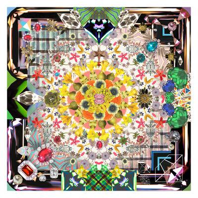 Dekoration - Teppiche - Jewels Garden Teppich / 300 x 300 cm - Moooi Carpets - Mehrfarbig - Polyamid