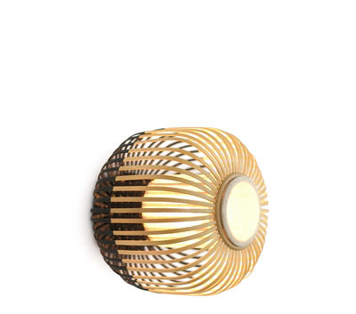 Lighting - Wall Lights - Bamboo light XS Wall light - Ceiling lamp - Ø 27 x H 20 cm by Forestier - Black / Natural - Fabric, Natural bamboo