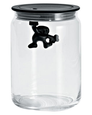 Tableware - Boxes and jars - Gianni a little man holding on tight Airtight jar - 90 cl by A di Alessi - Black / 90 cl - Glass, Thermoplastic resin
