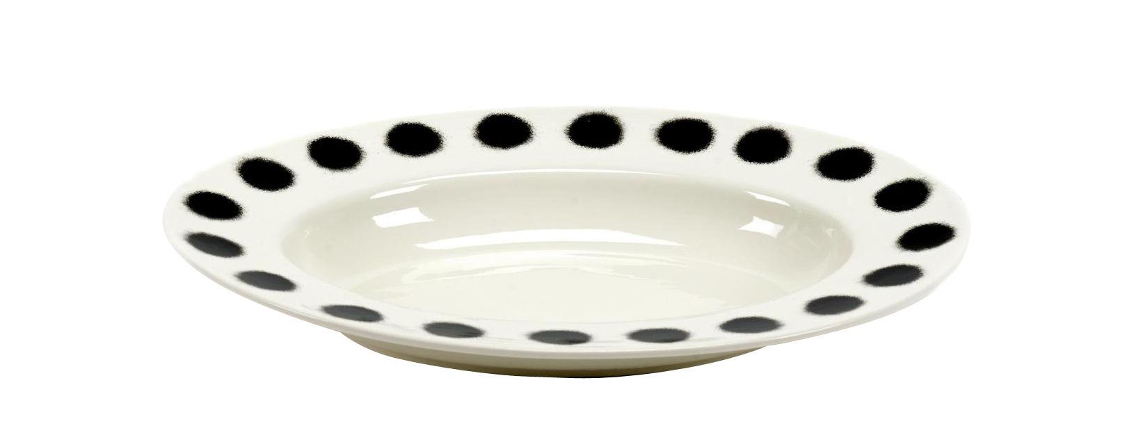Arts de la table - Assiettes - Assiette creuse Pasta Pasta / Plat pour pâtes - Porcelaine - 31 x 21 cm - Serax - Noir & blanc - Porcelaine