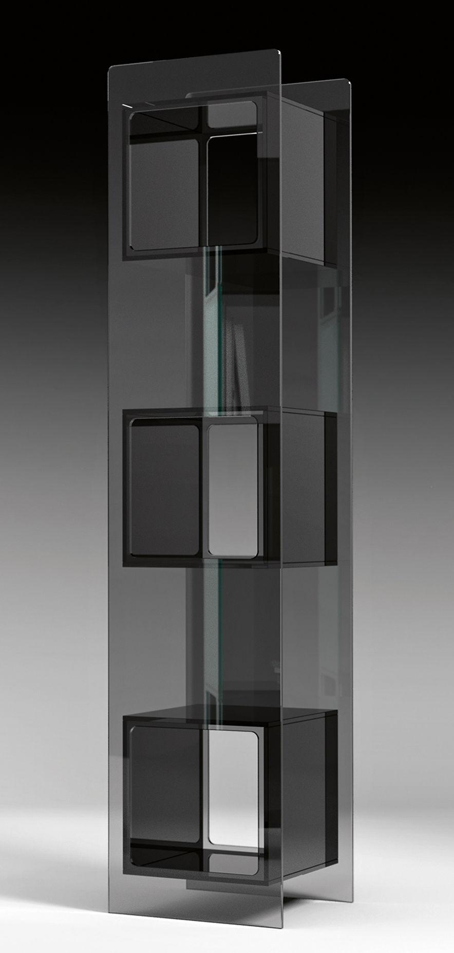 Mobilier - Etagères & bibliothèques - Bibliothèque Magique Totem / L 38 x H 172 cm - FIAM - Transparent / Casiers noirs - Verre