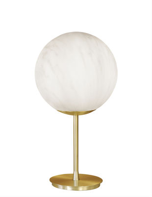 Mineral Bodenleuchte / Kunststoff Marmor-Optik - Ø 40 x H 75 cm - Slide - Weiß,Grau,Messing