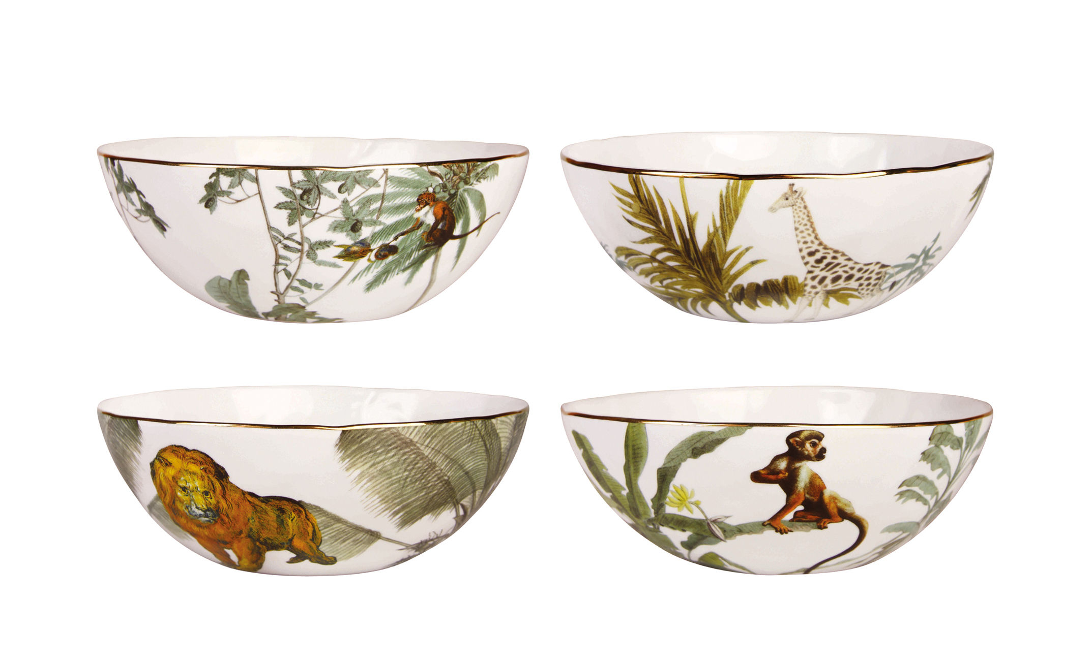 Arts de la table - Saladiers, coupes et bols - Bol Jungle / Set de 4 - Porcelaine - & klevering - Jungle / Multicolore - Porcelaine fine