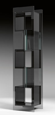 Furniture - Bookcases & Bookshelves - Magique Totem Bookcase by FIAM - Stucture : Smoked glass - Container : Black - Glass