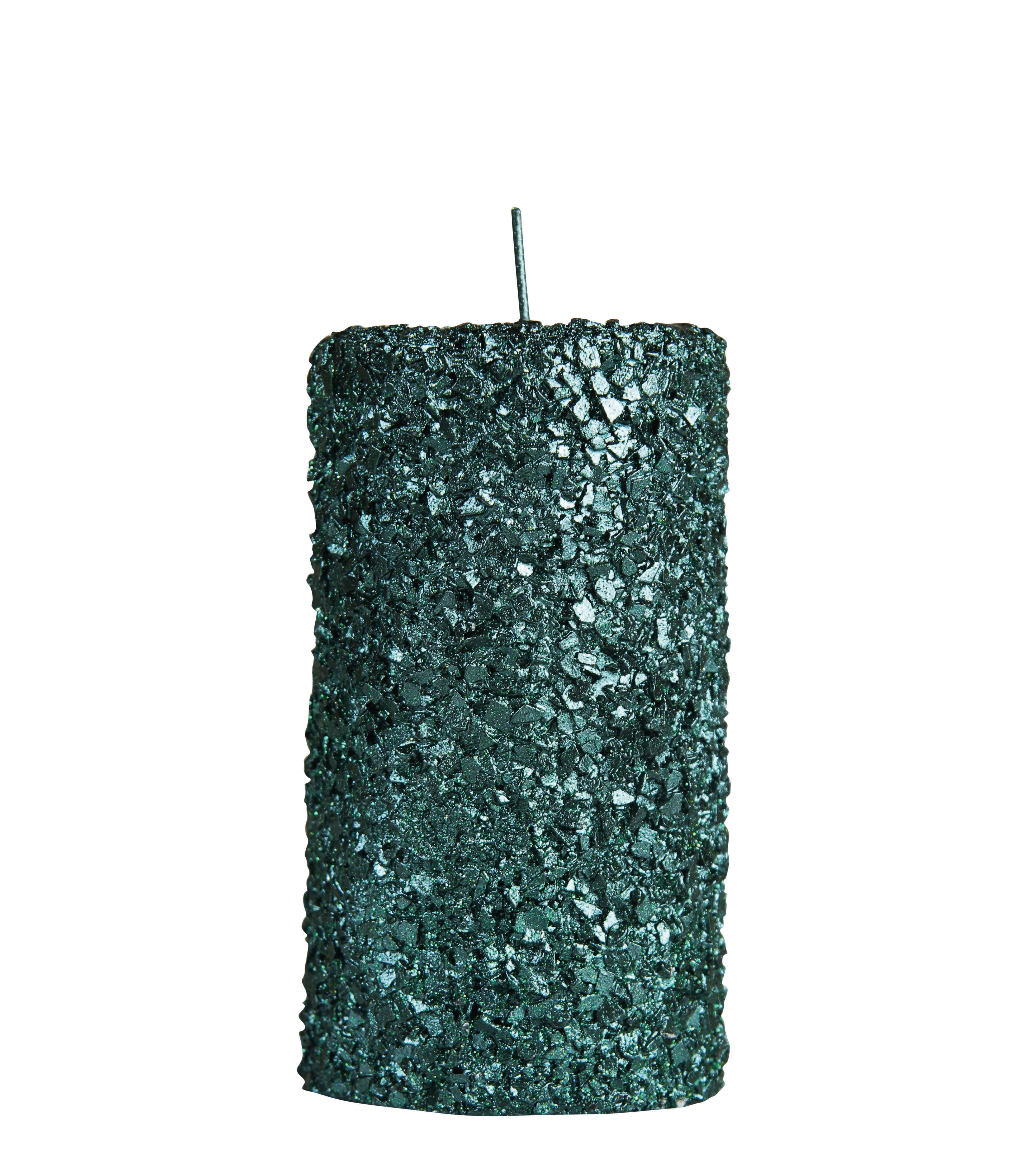 Déco - Bougeoirs, photophores - Bougie Pillar / Medium - H 13 cm - & klevering - Medium / Vert pailleté - Cire