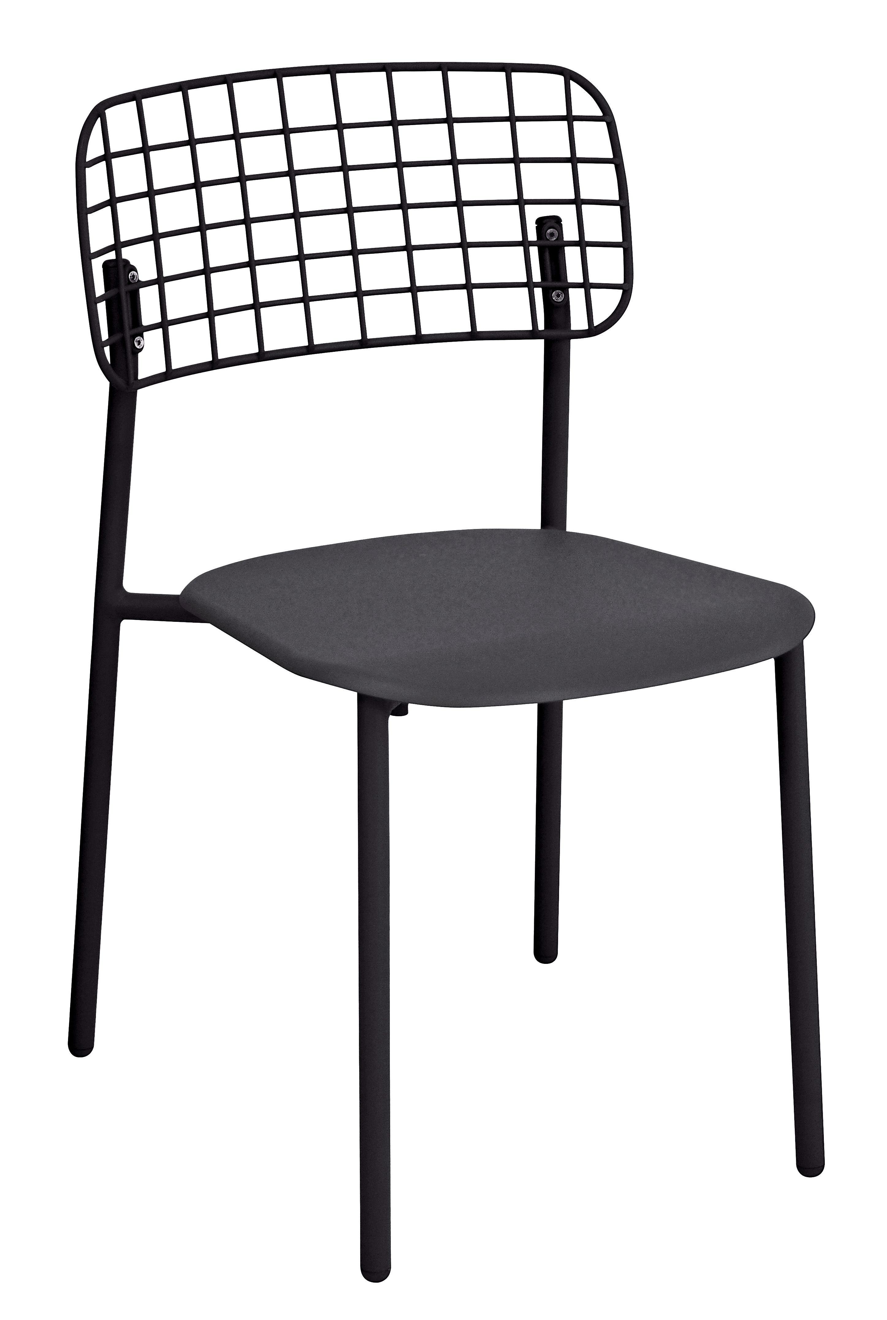 Mobilier - Chaises, fauteuils de salle à manger - Chaise empilable Lyze / Métal - Emu - Noir - Acier inoxydable verni, Aluminium verni