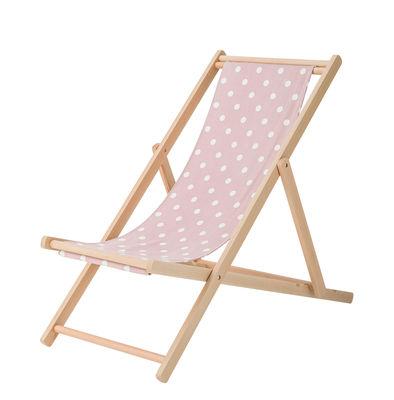 Outdoor - Chaises longues et hamacs - Chaise longue / Pliable & réglable - Bloomingville - Pois / Rose & blanc - Coton, Hêtre massif