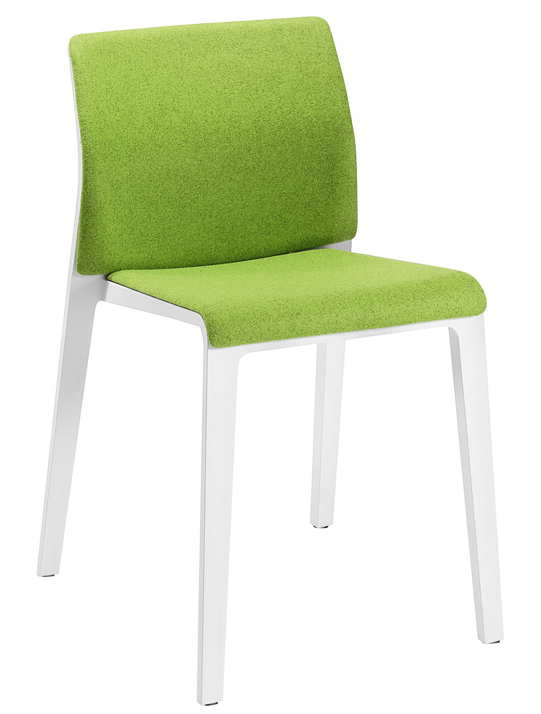 Mobilier - Chaises, fauteuils de salle à manger - Chaise rembourrée Juno / Dossier fermé - Arper - Blanc / Tissu vert - Polypropylène, Tissu Kvadrat