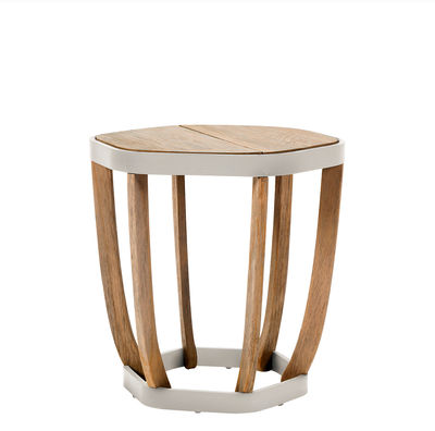 Furniture - Coffee Tables - Swing Small Coffee table - / 50 x 50cm by Ethimo - White & teak - Lacquered aluminium, Natural teak