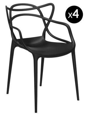 Mobilier - Chaises, fauteuils de salle à manger - Fauteuil empilable Masters / Lot de 4 - Kartell - Noir - Polypropylène