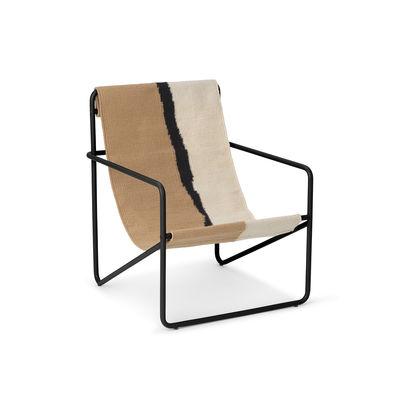 Fauteuil enfant Desert / Structure noire - Bouteilles plastique recyclées - Ferm Living blanc/beige en tissu