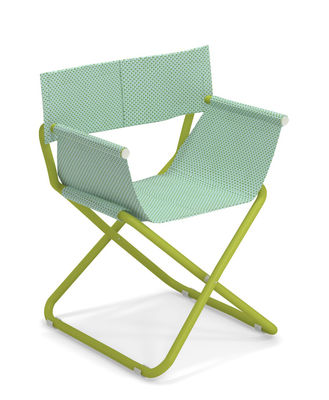 Furniture - Chairs - Snooze Directeur Folding armchair - / Fabric & Metal by Emu - Mint / Green structure - Technical fabric, Varnished steel
