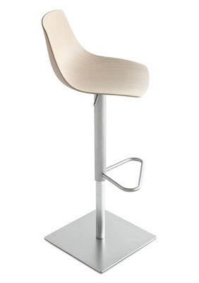 Möbel - Barhocker - Miunn Höhenverstellbarer Barhocker drehbar - Lapalma - Eiche gebleicht - rostfreier Stahl, Sperrholz mit gebleichtem Eichefurnier