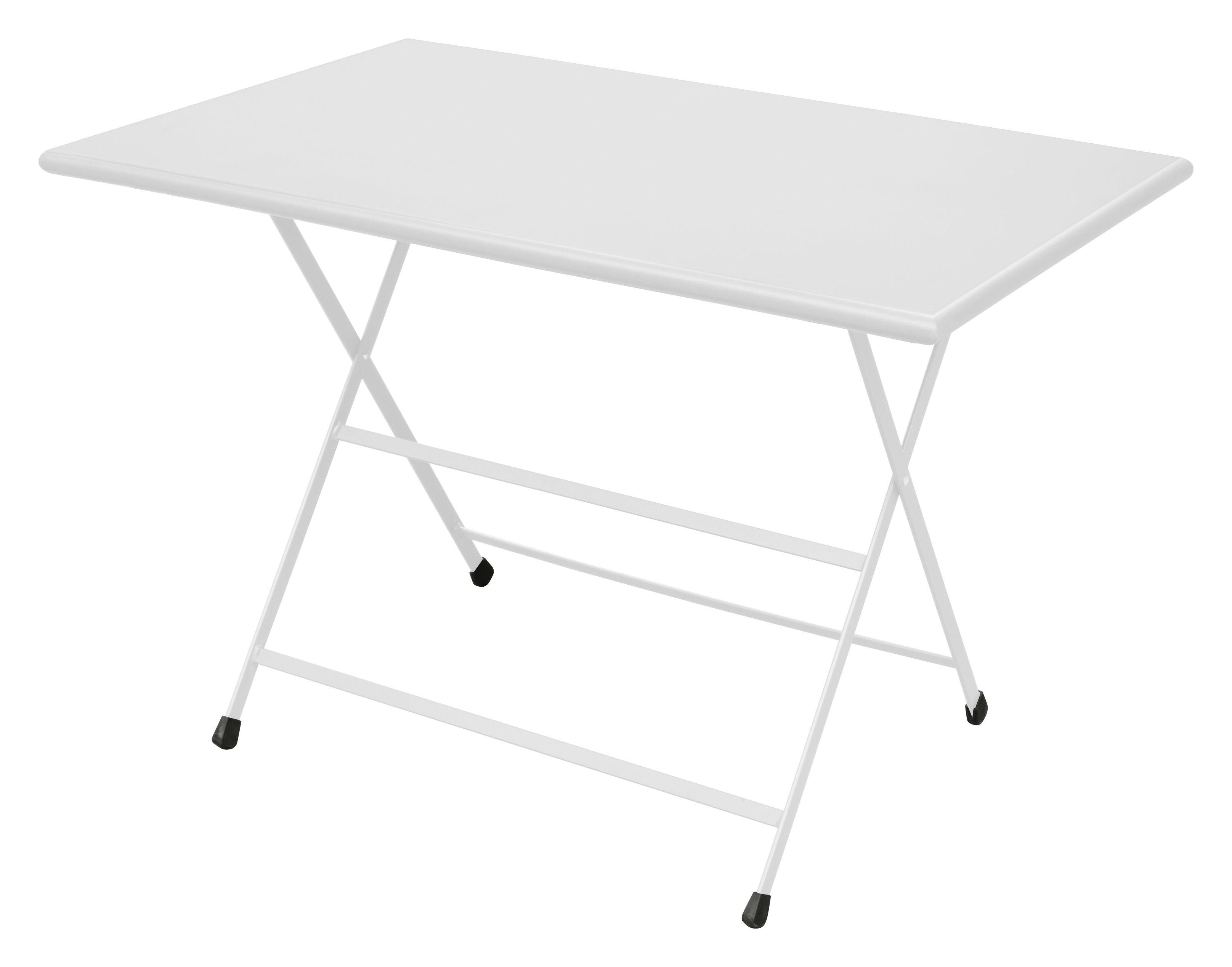Outdoor - Tische - Arc en Ciel Klapptisch 110 x 70 cm - zusammenklappbar - Emu - Weiß - gefirnister Stahl