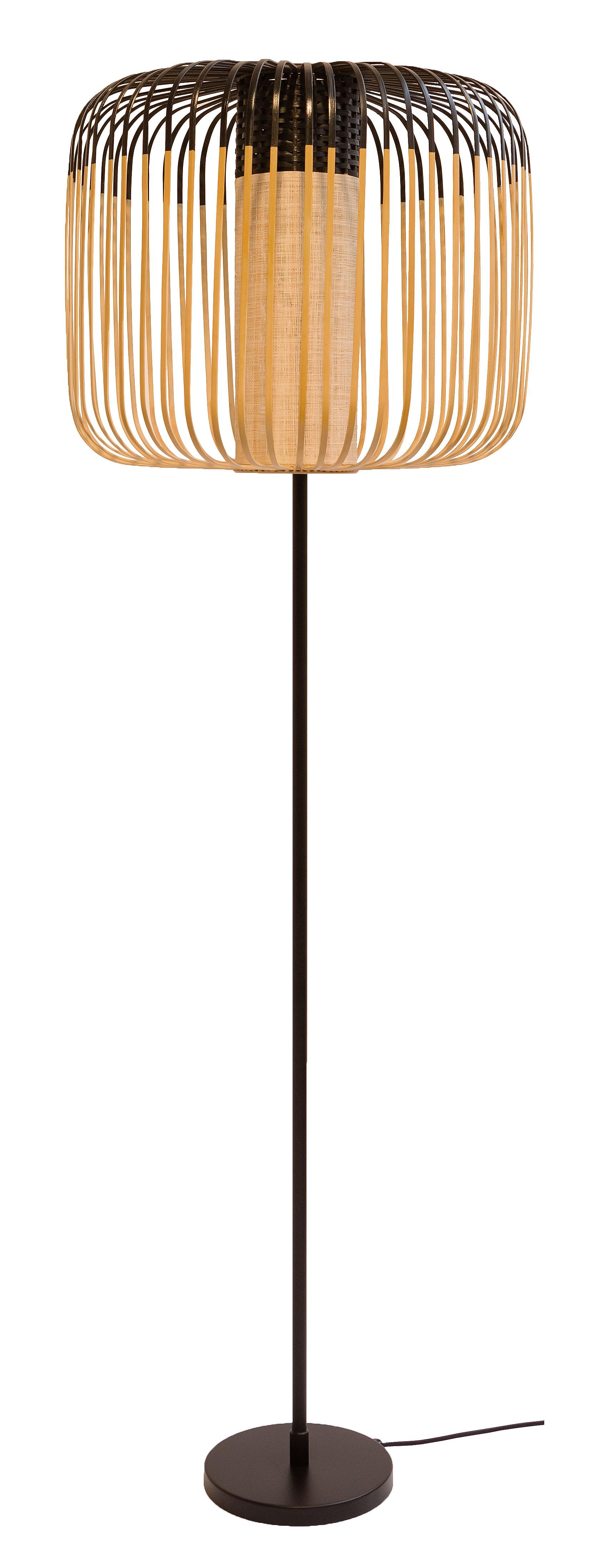Illuminazione - Lampade da terra - Lampada a stelo Bamboo Light - / H 150 cm di Forestier - Nero / Naturale - Bambou naturel, Metallo