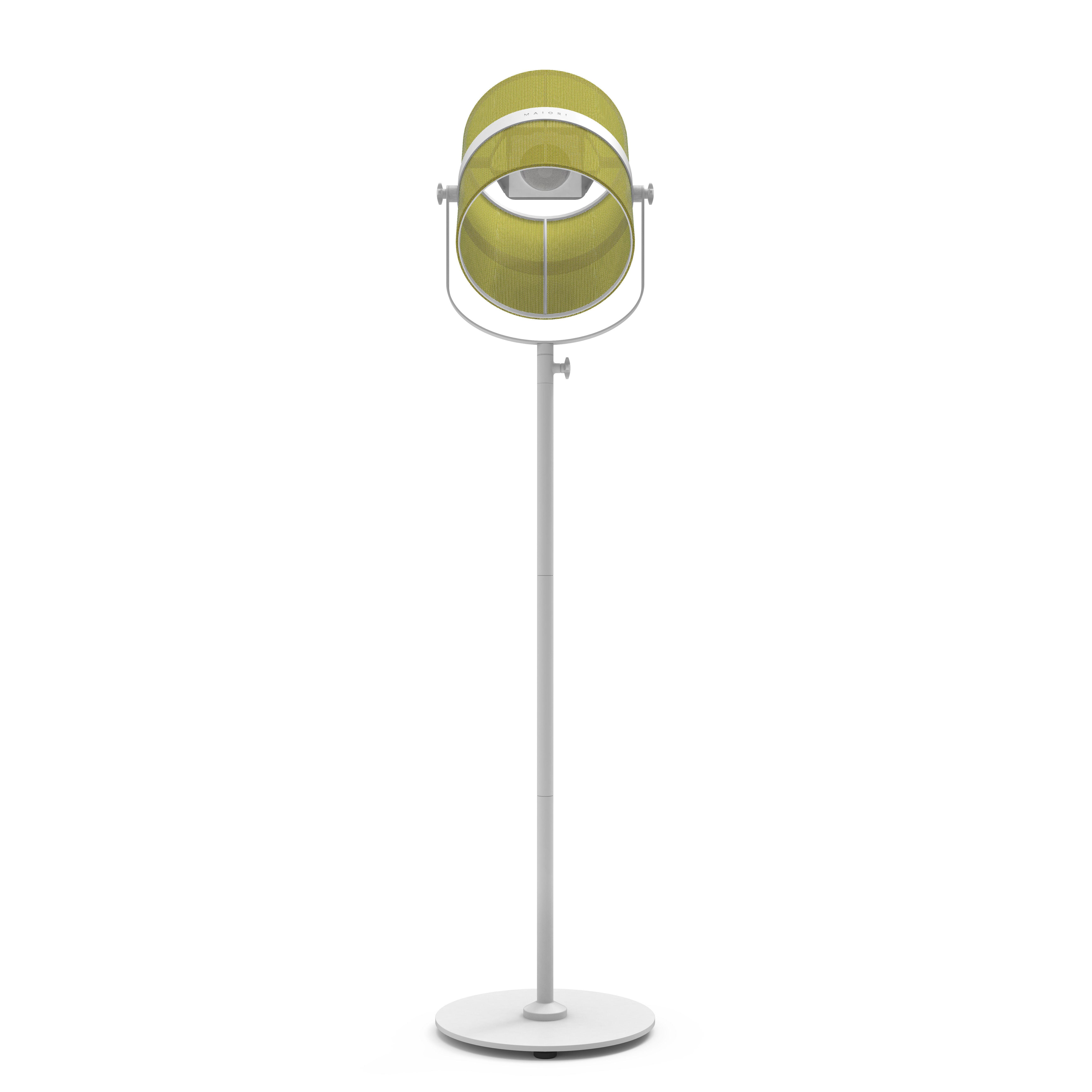 Luminaire - Lampadaires - Lampadaire solaire La Lampe Paris LED / Hybride & connectée - Maiori - Citron / Pied blanc - Aluminium peint, Tissu
