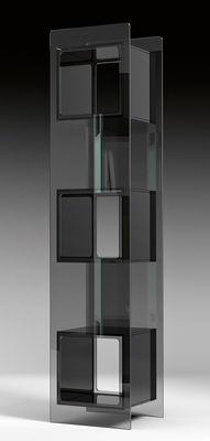 Arredamento - Scaffali e librerie - Libreria Magique Totem - / L 38 x H 172 cm di FIAM - Trasparente / Scomparti neri - Vetro