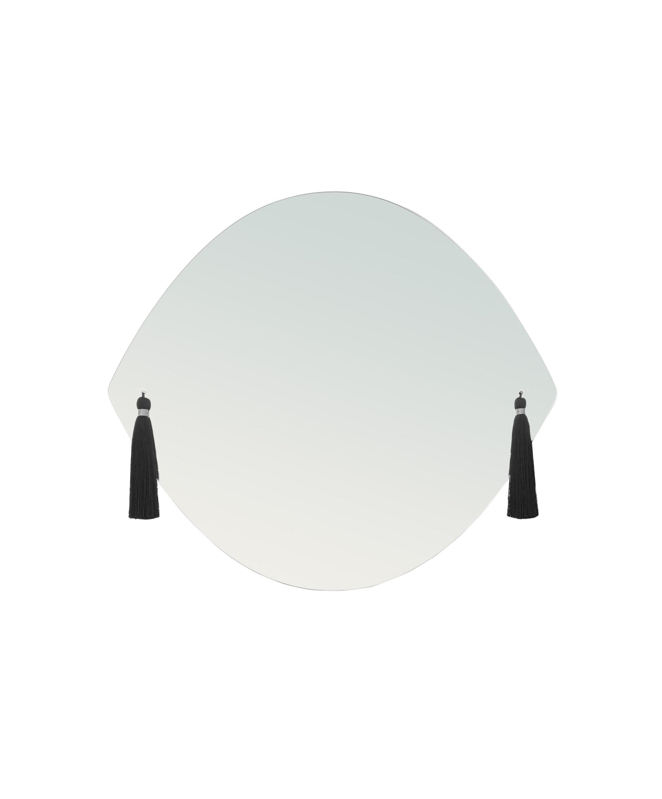 Déco - Miroirs - Miroir mural Panache Small / L 42 x H 37 cm - 6 pompons interchangeables - Petite Friture - Small - Tissu, Verre
