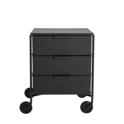 Furniture - Bookcases & Bookshelves - Mobil Mobile container - / 3 drawers - Matt version by Kartell - Matt black - Recycled thermoplastic technopolymer, Varnished steel