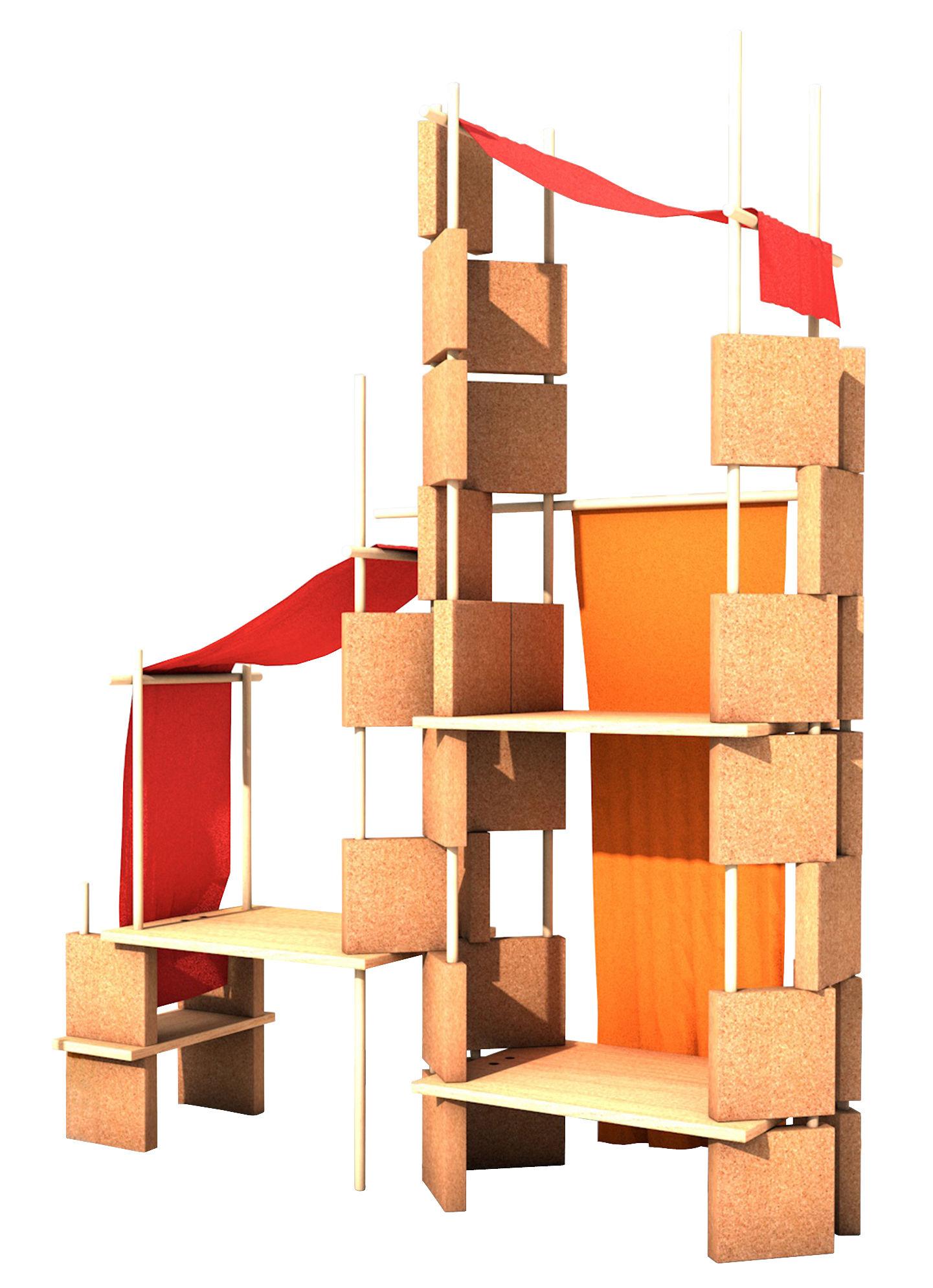 Arredamento - Scaffali e librerie - Mobile in evoluzione Play Yet 3! - / Per bambini - Set 86 pezzi di Smarin - Legno naturale / Tessuto rosso - Faggio naturale, Rovere naturale, Sughero, Tessuto