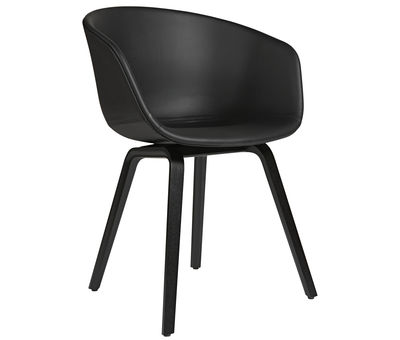 Furniture - Chairs - About a chair AAC23 Padded armchair - Leather shell & wood legs by Hay - Black leather - Foam, Leather, Polypropylene, Tinted oak plywood