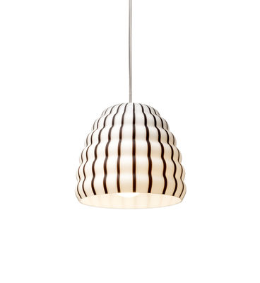 Lighting - Pendant Lighting - Filigrana Ruche Pendant - / Black stripes - Ø 16 cm by Established & Sons - White / Black stripes - Acrylic, Metal, Mouth blown glass