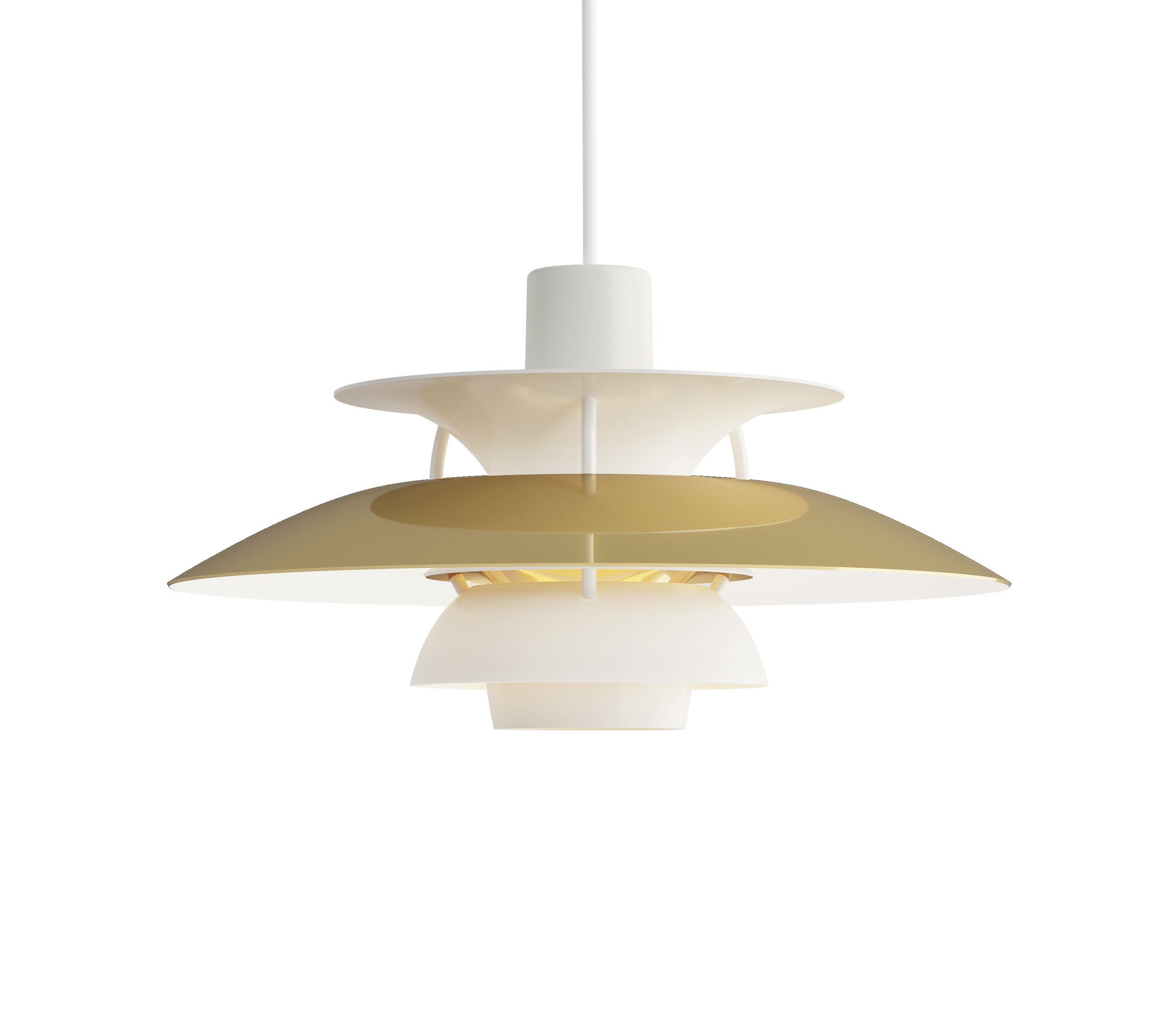 Lighting - Pendant Lighting - PH 5 Mini Pendant - / Ø 30 cm by Louis Poulsen - Brass & white / White rods - Lacquered aluminium, Polished brass