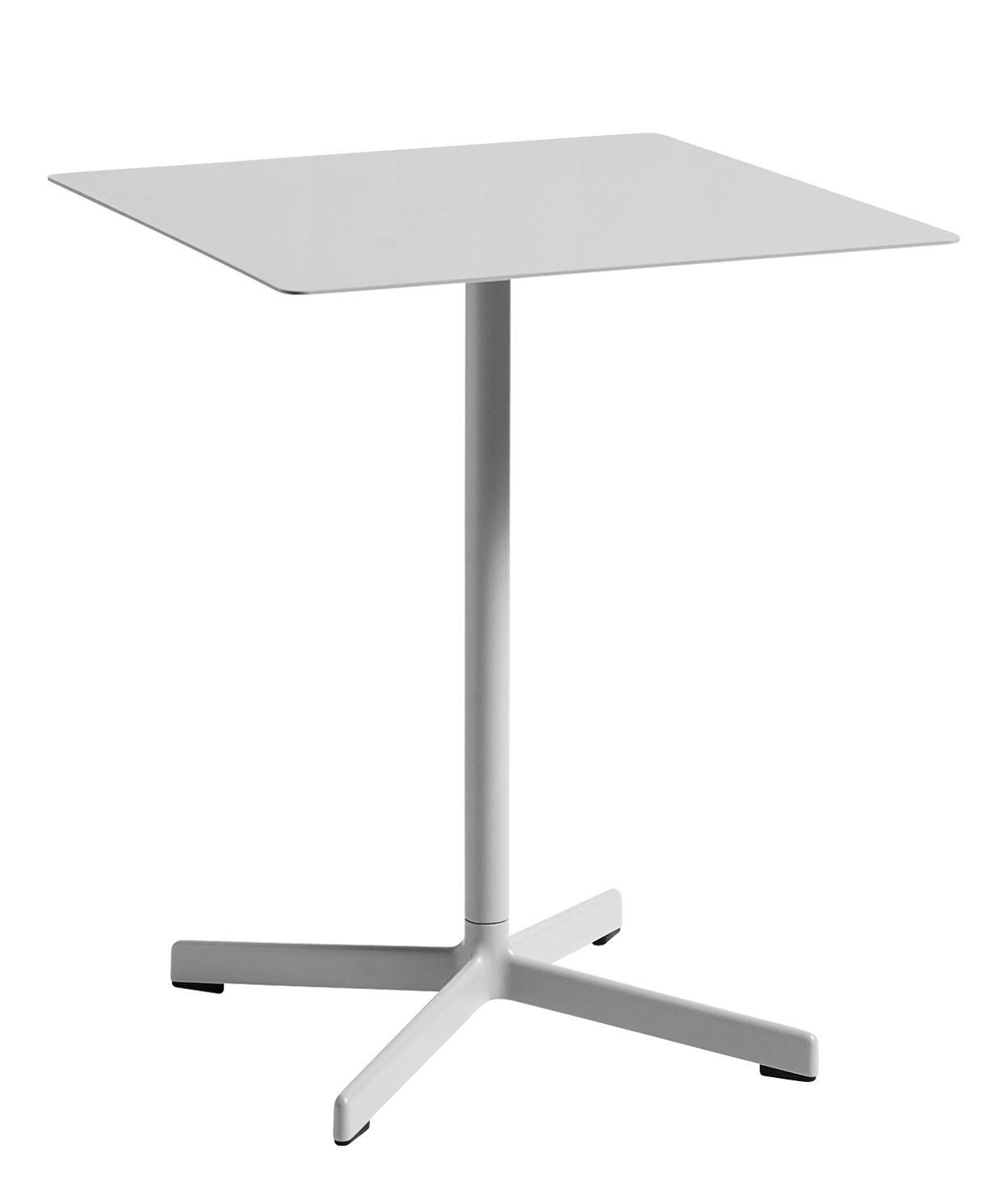 Outdoor - Tische - Neu quadratischer Tisch / 60 x 60 cm - Metall - Hay - Hellgrau - Acier laqué époxy, Aluminiumguss, epoxidlackiert