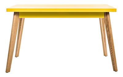 Trends - Zu Tisch! - 55 rechteckiger Tisch / 130 x 70 cm - Metall & Füße aus Holz - Tolix - Zitronengelb / Tischbeine Holz - Lackierter recycelter Stahl, massive Eiche