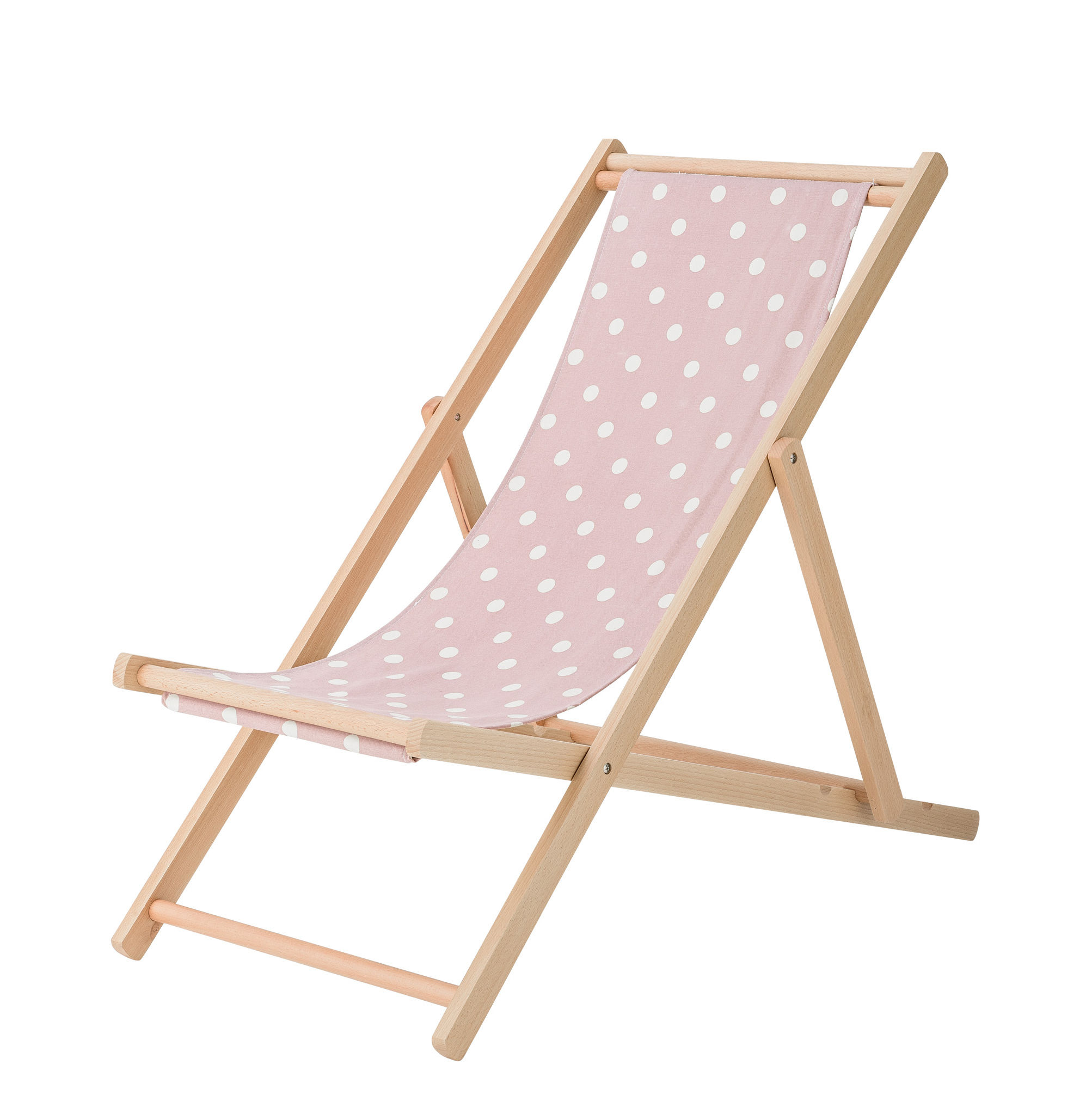 Outdoor - Sun Loungers & Hammocks - Reclining chair - / Foldable & adjustable by Bloomingville - Black polka-dots - Cotton, Natural beechwood