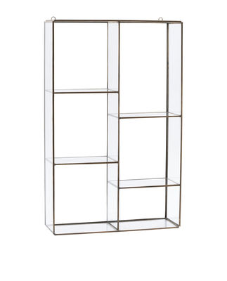 Furniture - Bookcases & Bookshelves - Keeper Large Shelf - / H 52 x L 33 cm by House Doctor - Large / Brass - Glass, Metal