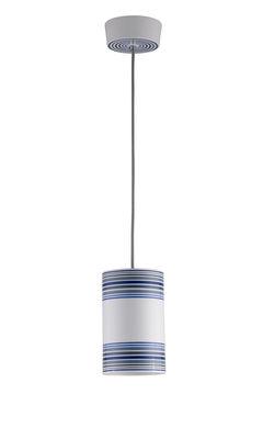Suspension May / peinte à la main - Ø 12,5 x H 20 cm - Original BTC blanc,bleu,gris en céramique