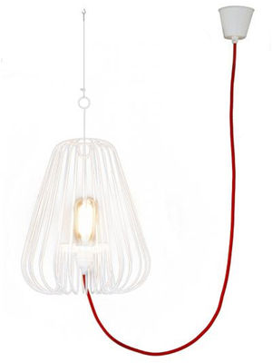 Luminaire - Suspensions - Suspension Small Light Cage H 40 cm - La Corbeille - Blanc / cordon rouge - Métal laqué