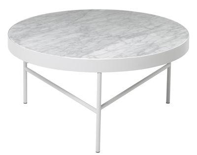Table basse Marble / Large - Ø 70,5 x H 35 cm - Ferm Living blanc en métal/pierre