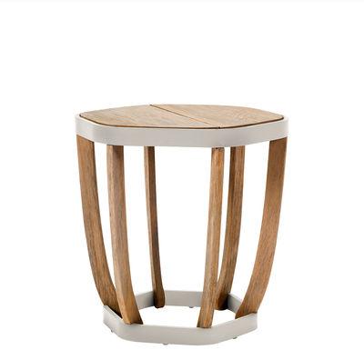 Mobilier - Tables basses - Table basse Swing Small / 50 x 50 cm - Ethimo - Blanc & teck - Aluminium laqué, Teck naturel