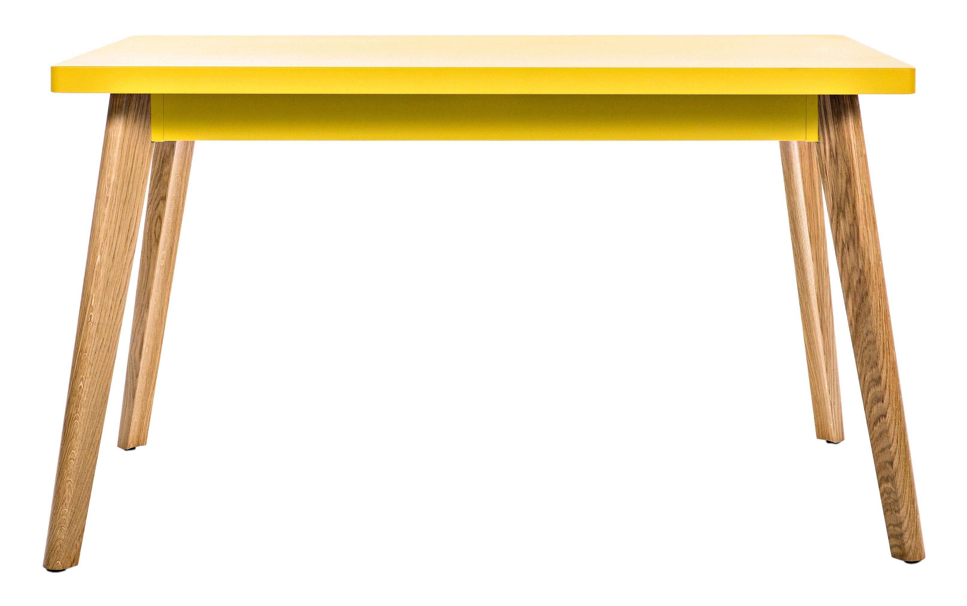 Tendances - Autour du repas - Table rectangulaire 55 / 130 x 70 cm - Métal & pieds bois - Tolix - Citron / Pieds bois - Acier recyclé laqué, Chêne massif
