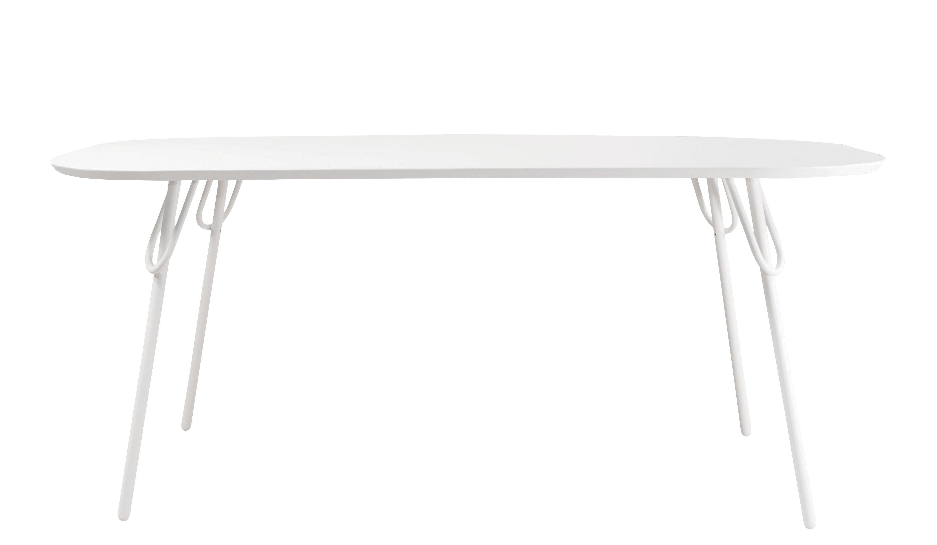 Jardin - Tables de jardin - Table rectangulaire 6 personnes Swim / Intérieur & extérieur - 180 x 95 cm - Bibelo - Blanc - Métal laqué époxy