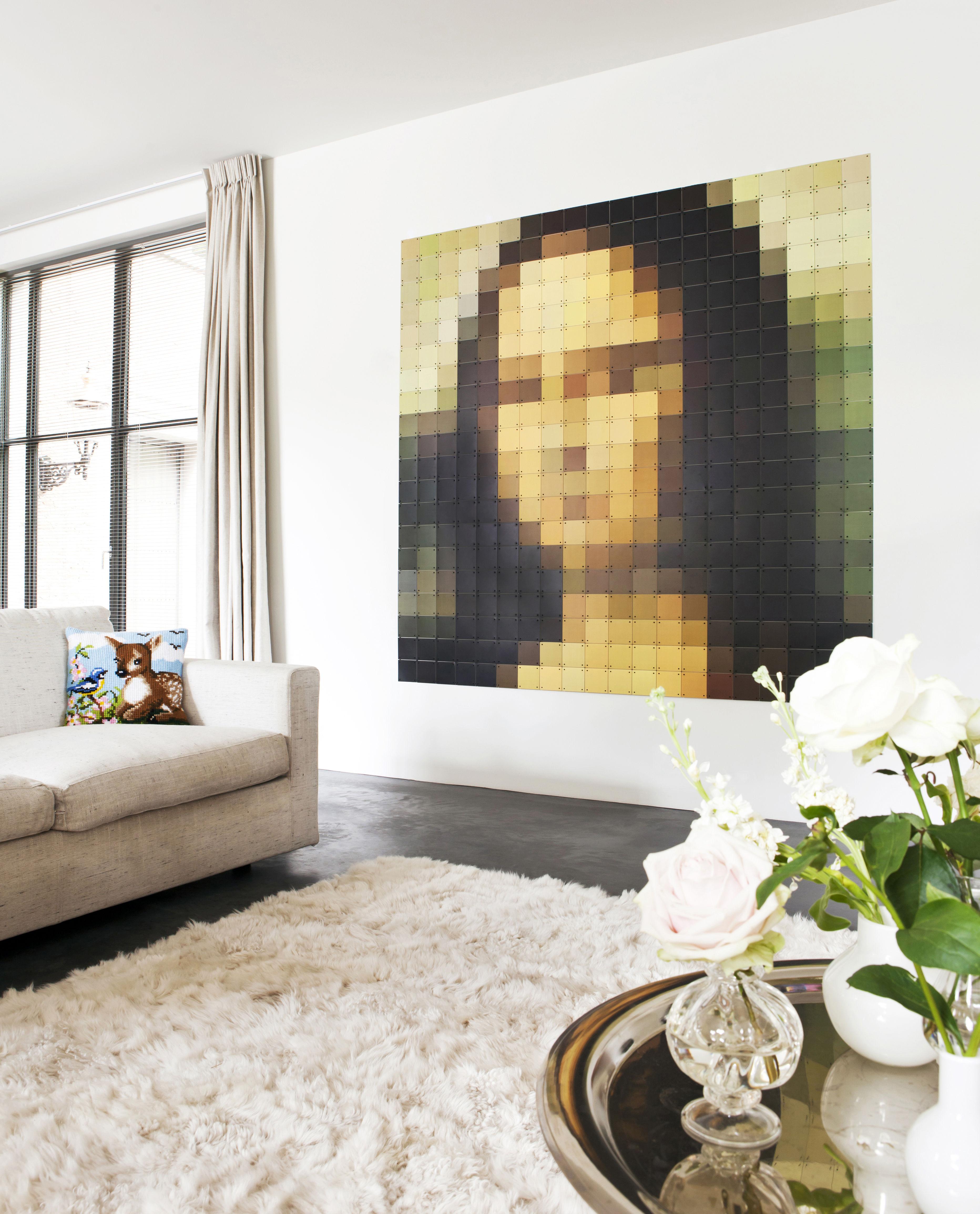 Déco - Objets déco et cadres-photos - Tableau Mona Lisa / 200 x 200 cm - ixxi - Multicolore / Mona Lisa - Papier synthétique