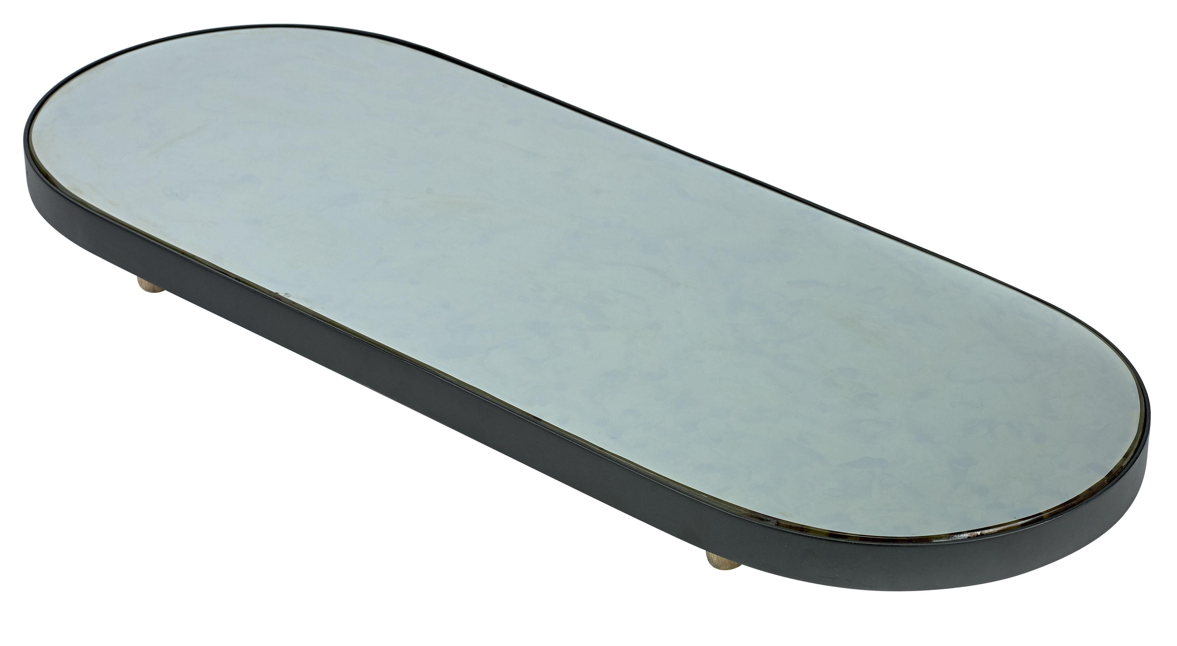 Tischkultur - Tabletts - Reflect XL Tablett / Spiegel oval - 80 x 31 cm - Serax - Schwarz & Spiegeloberfläche / Füße holzfarben - bemaltes Metall, Bois naturel, Glas