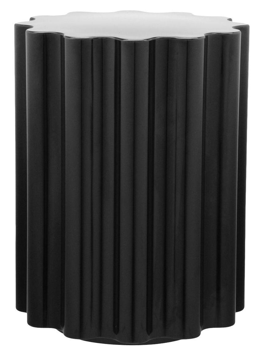 Mobilier - Tabourets bas - Tabouret Colonna / H 46 x Ø 34,5 cm - By Ettore Sottsass - Kartell - Noir - Technopolymère thermoplastique teinté dans la masse