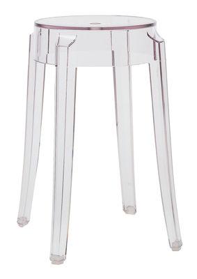 Mobilier - Tabourets bas - Tabouret empilable Charles Ghost H 46 cm / Plastique - Kartell - Cristal - Polycarbonate