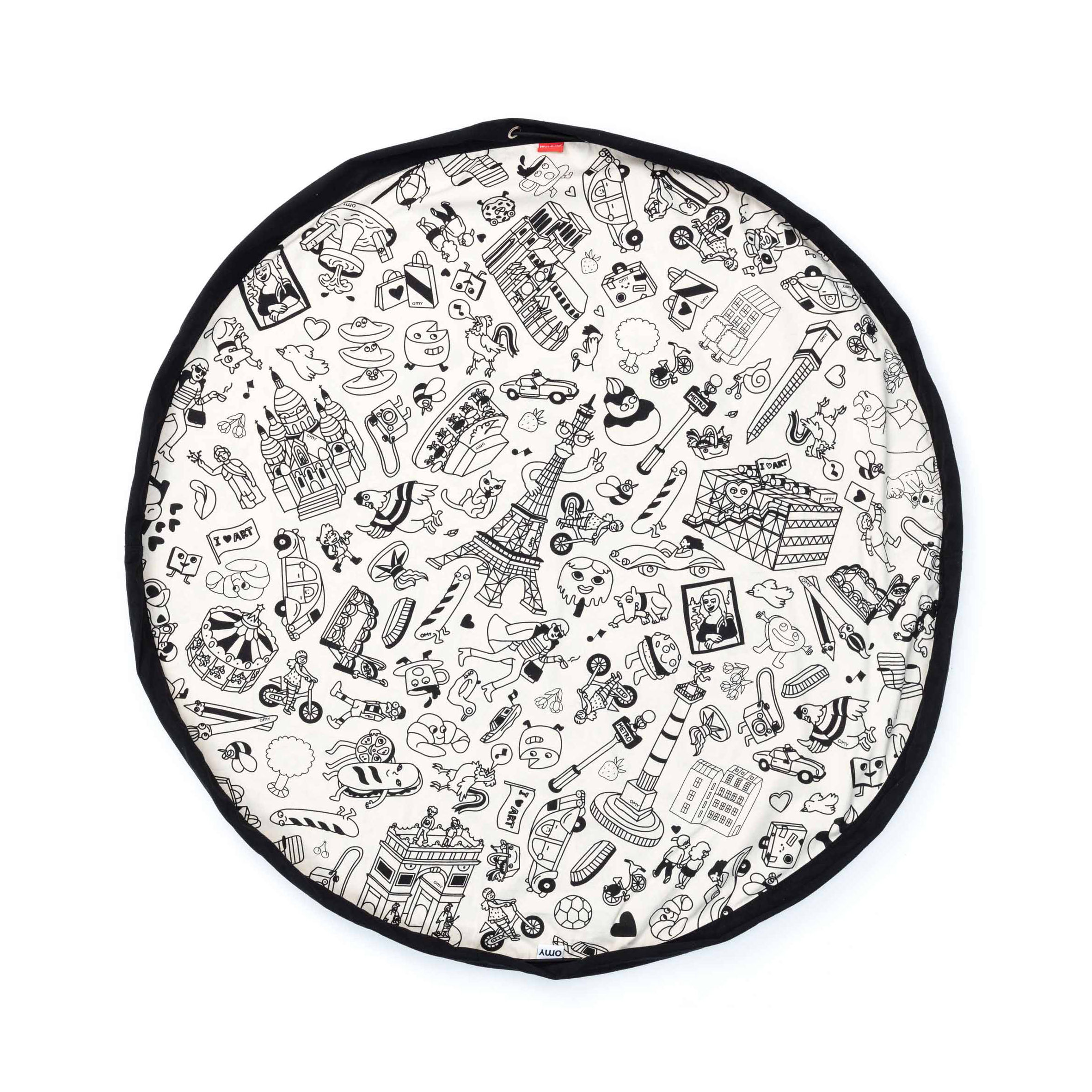 Déco - Pour les enfants - Tapis de jeu Play & Go / Sac de rangement à colorier - Ø 140 cm - OMY Design & Play - Noir & blanc - Coton, Polyester