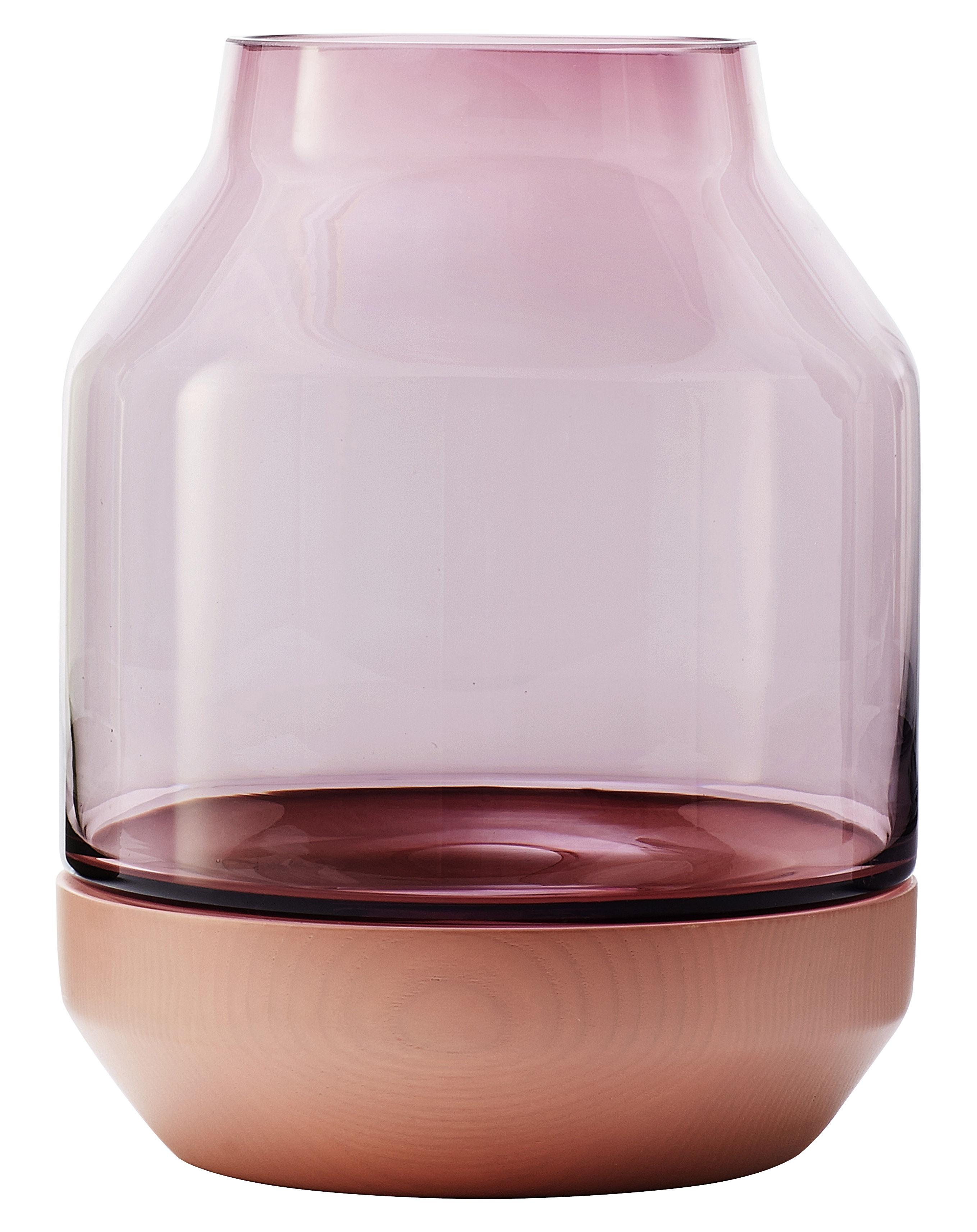 Interni - Vasi - Vaso Elevated di Muuto - Rosa - Frassino tinto, vetro soffiato