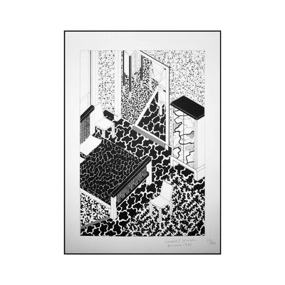 Déco - Stickers, papiers peints & posters - Affiche Drawing for Interior 2 / Sérigraphie by George J. Sowden, 1983 - Edition limitée, signée - Memphis Milano - Interior 2 - Papier