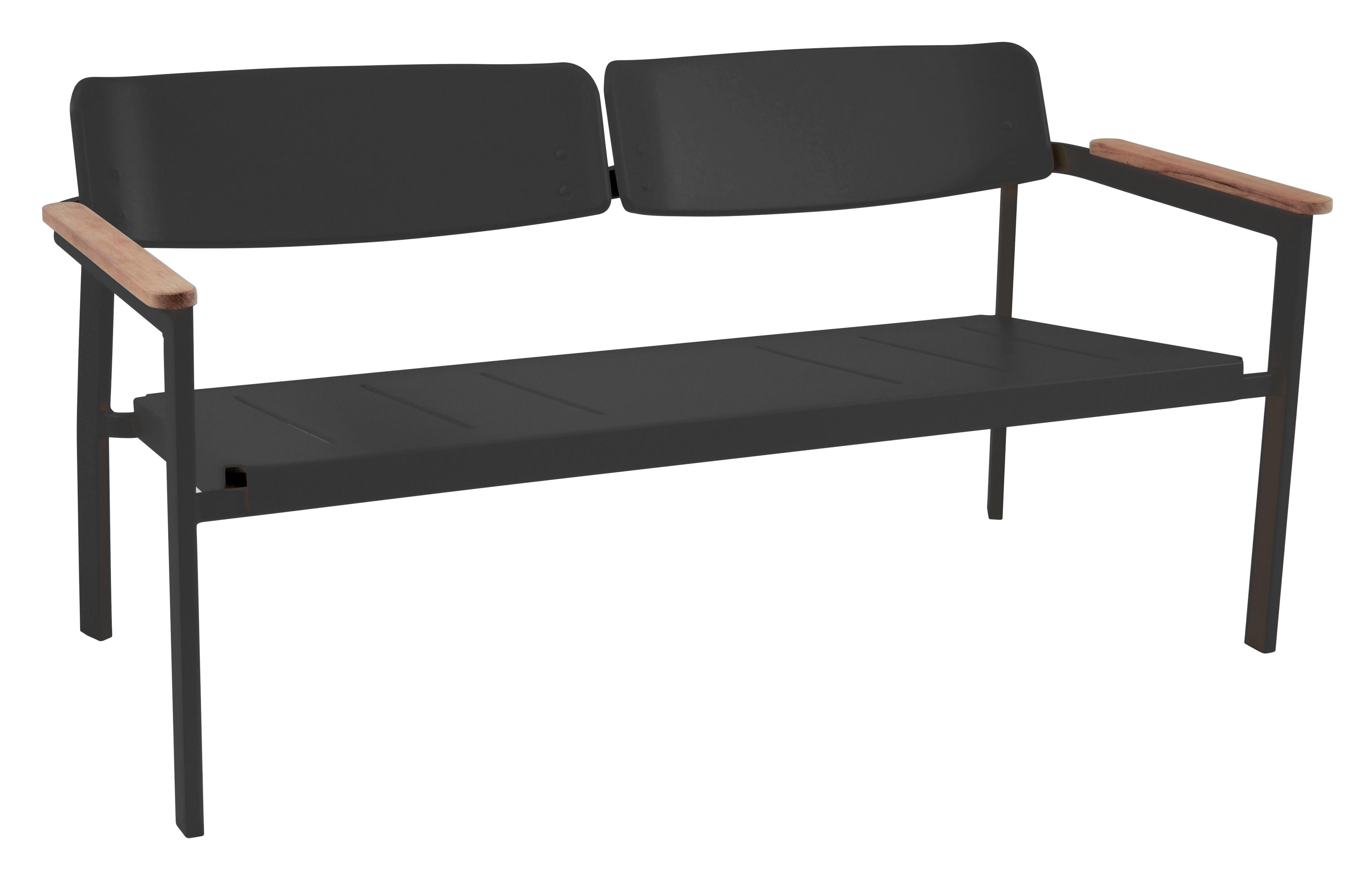 Mobilier - Bancs - Banc avec dossier Shine / 2 places - L 147 cm - Emu - Noir / Accoudoirs teck - Aluminium verni, Teck