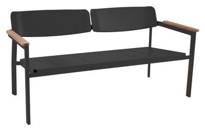 Möbel - Bänke - Shine Bank mit Rückenlehne / 2-Sitzer - L 147 cm - Emu - Schwarz / Armlehnen Teak - klarlackbeschichtetes Aluminium, Teakholz