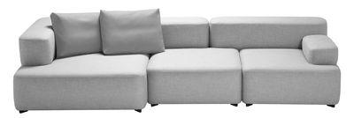 Canapé droit Alphabet / modulable - 3 places - L 300 x P 120 cm - Fritz Hansen gris clair en tissu